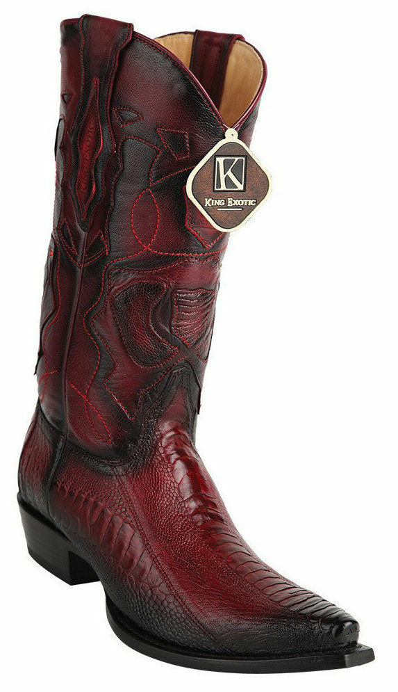 KING EXOTIC BURGUNDY SNIP TOE GENUINE OSTRICH LEG WESTERN COWBOY BOOT 94DRD0543