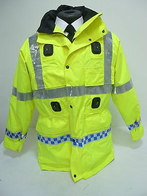 Waterproof & Breathable EX Police Hi Vis Viz Jacket Coat with Liner & Hood MU01