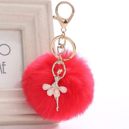 Soft Cute Handbag Car Keyring Owl Pendant Faux Rabbit Fur Pompom Fluffy Keychain