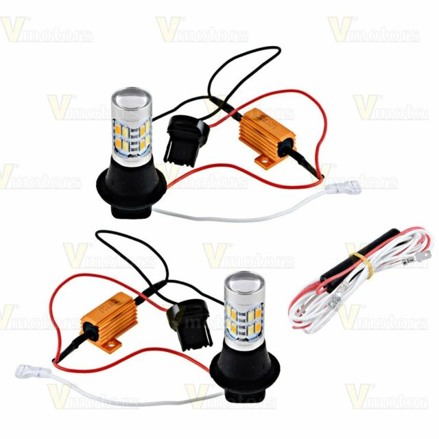 (2) 7440 T20 5730 20 LED Car Dual Color Switchback DRL Reverse Turn Signal Light