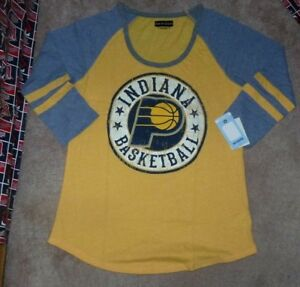 c1e319725b25 NEW NBA Indiana Pacers Basketball 3 4 Women Ladies T Shirt Large L ...