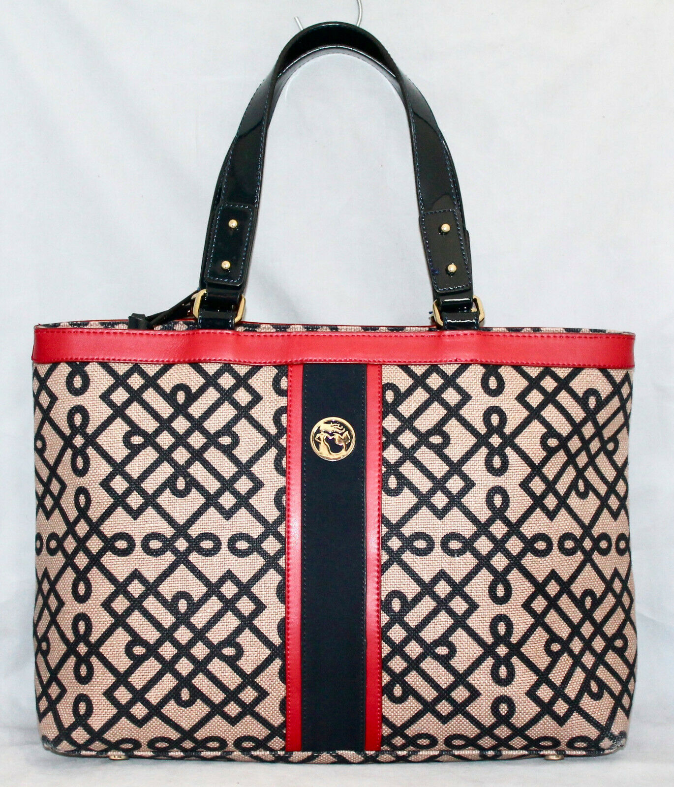 SPARTINA Large Pender Tote in Tan Black Red Linen & Leather Gold Hdwr