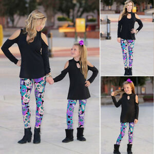 Boutique-Mother-Daughter-Matching-Outfits-Women-Girl-Top-T-Shirt-Legging-Clothes