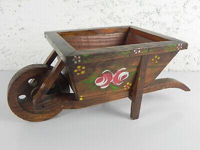 Carriola In Legno Massello Decorata A Mano Design Floreale Vintage Portavaso