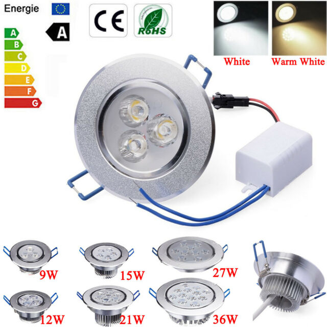 Dimmable 9w 12w 15w 27w 36w Led Ceiling Recessed Down Light Fixture Lamp Driver