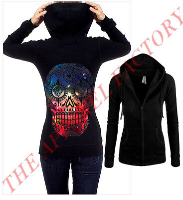 Junior's Galaxy Sugar Skull Black Thermal Zipper Hoodie Dope Cali Sexy Sweater
