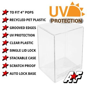 """AFT 4"""" Funko Pop Vinyl Protector Cases 0.40mm Thickness in 1 - 100 Pack Sizes"""
