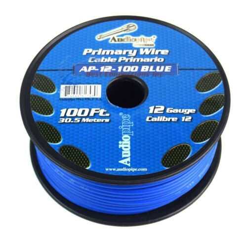 Audiopipe 100/' Feet 12 Gauge AWG Blue Primary Remote Wire Car Auto Power Cable
