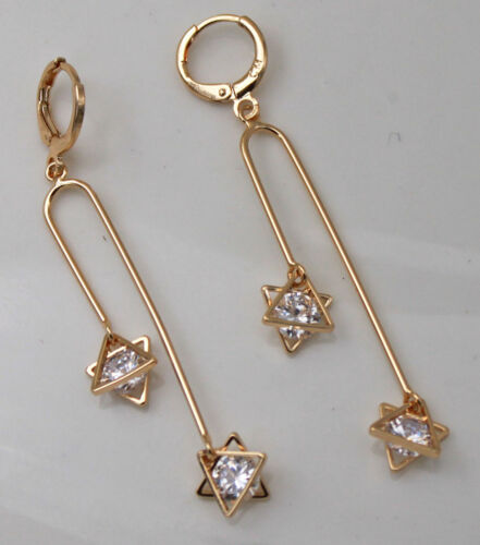 18K Gold Filled 2.6/'/' Tassel Triangle stars Topaz Zircon Party Hoop Earrings
