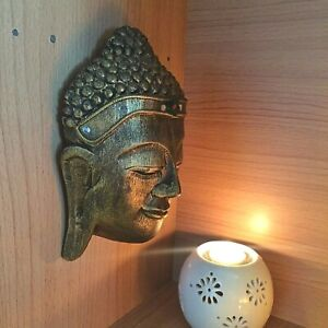 Details about VINTAGE LARGE WOOD CARVED BUDDHA FACE MASK WALL SCULPTURE  HOME DECOR ANCIENT #1
