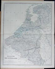 1875 EXTRA LARGE ANTIQUE MAP - BELGIUM AND THE NETHERLANDS