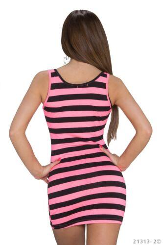 Longshirt Top Partyshirt Strandtop Kleid Neon Longtop Tanktop Shirt Streifen