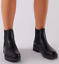 Womens Ladies Chelsea Ankle Boots Flat Chunky Sole Diamante Biker Shoes Size 3-8