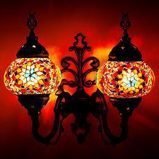 Turkish Moroccan Handmade Mosaic Globe Wall Sconce Lamp Two Rainbow Art Glasses