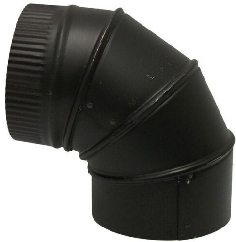 Stove Pipe Elbow 6 in x 6 in Black Adjustable 24-Gauge Single Wall Wood Burning