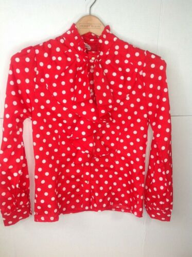 Vintage Red White Polka Dot High Neck Ruffle Blous