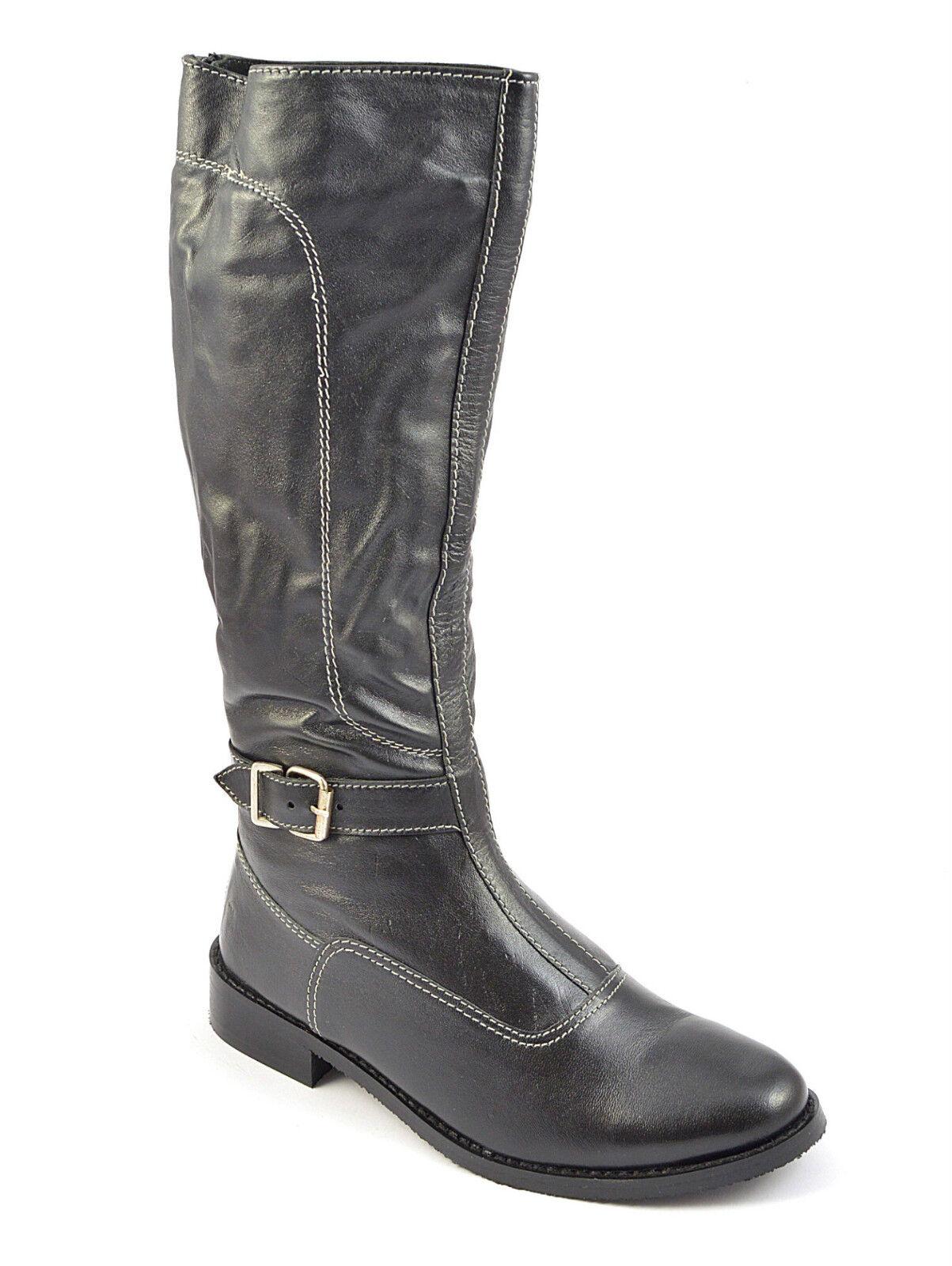 Para Mujer Damas Piel Botas Hasta La Rodilla Hebilla Cremallera De Equitación De Cuero Talla Zapato Tacones