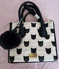 LUV Betsey Johnson Pink Cat Printed  Satchel Crossbody Bag NWOT