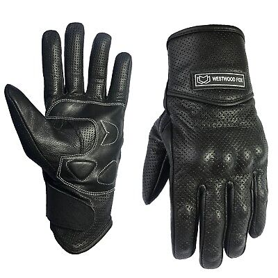 Pursuit Vented Leather Motorbike Motorcycle Gloves Knuckle Shell Protection S