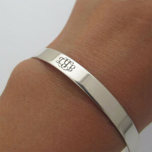Image Is Loading Silver Monogram Bracelet Initials Personalized Cuff Inspirational