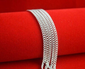 1PCS-Wholesale-18inch-Fashion-Jewelry-Lot-925-Silver-Flat-Curb-Chain-Necklaces