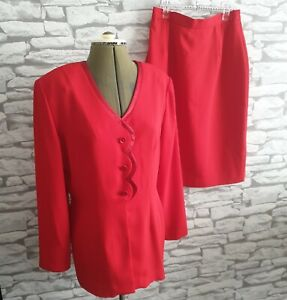 Vtg-JOSEPH-RIBKOFF-Red-2-Piece-Skirt-Suit-Formal-Occasion-Work-Size-14-uk-womens