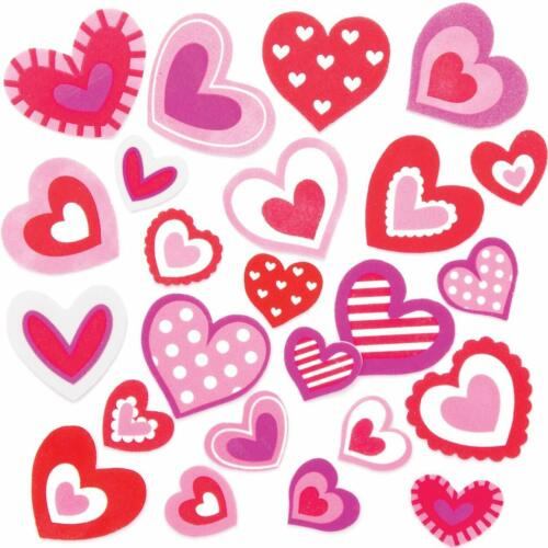 10 HEART SCRATCH ART MAGNETS 12 FOAM STICKERS GIFT SET KIT Rainbow Kids Craft