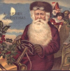 FATHER CHRISTMAS,SANTA CLAUS WEARS WINE COLORED ROBE DRIVING AUTOMOBILE POSTCARD