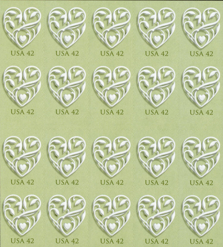 2008 42c Wedding Hearts, Special Issue, Sheet of 20 Sco