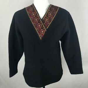 The-Territory-Ahead-Womens-Sweater-Wool-Black-V-Neck-Small-Boho-Embroidered