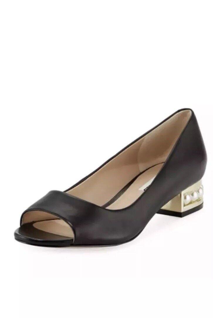 New Karl Lagerfeld Paris Black Leather Flat Pearl Insets Women's Size 8.5 NIB