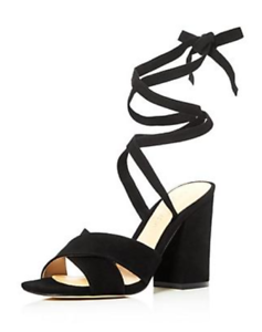 $130 size 8.5 Ivanka Trump Kuriel Black Suede Ankle Strap Heel Sandals Shoes