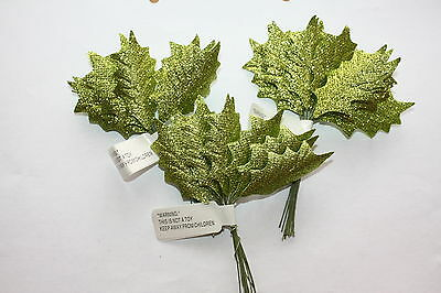 36 x SMALL GREEN GLITTER HOLLY LEAVES 50mm WIRED STEMS CHRISTMAS CRAFT