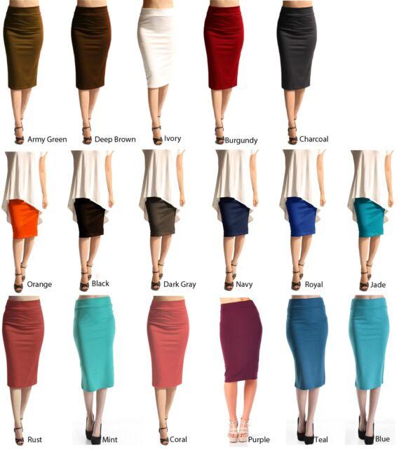Career Sexy Straight Ponte Knit Pencil Stretch Knee Length Slim Waistband Skirt
