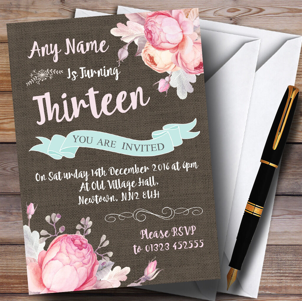 Vintage Burlap Style Floral 13th Personalised Birthday Party Invitations
