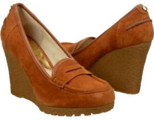 4af2b17b5118 New Michael KORS RORY Loafer Wedge Pumps Walnut Suede Platform Heels ...