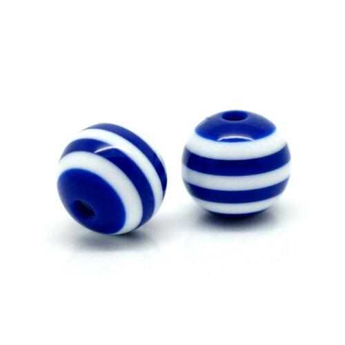20 Perles en Resine Rayé 8mm Bleu Marine et Blanc Creation bijoux