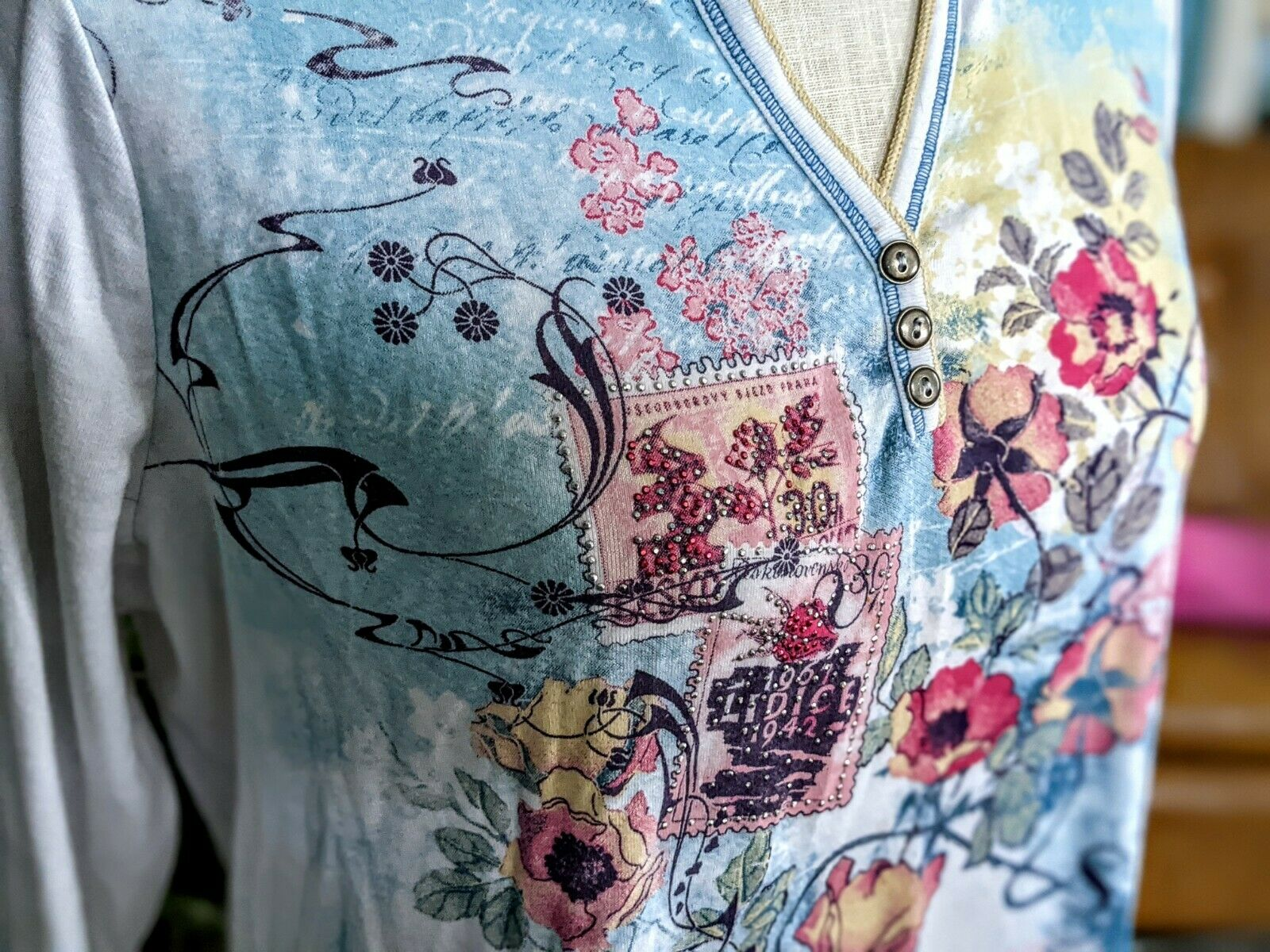 Vintage 1X Blue Canyon 3/4 Sleeve Top Floral Rhin… - image 6