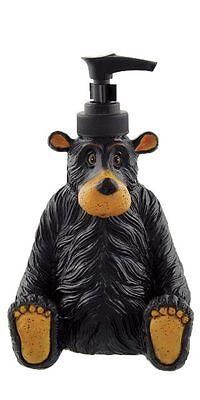 Willie Black Bear Liquid Soap Lotion Dispenser 7.5 Inch Tall Lodge Cabin Decor
