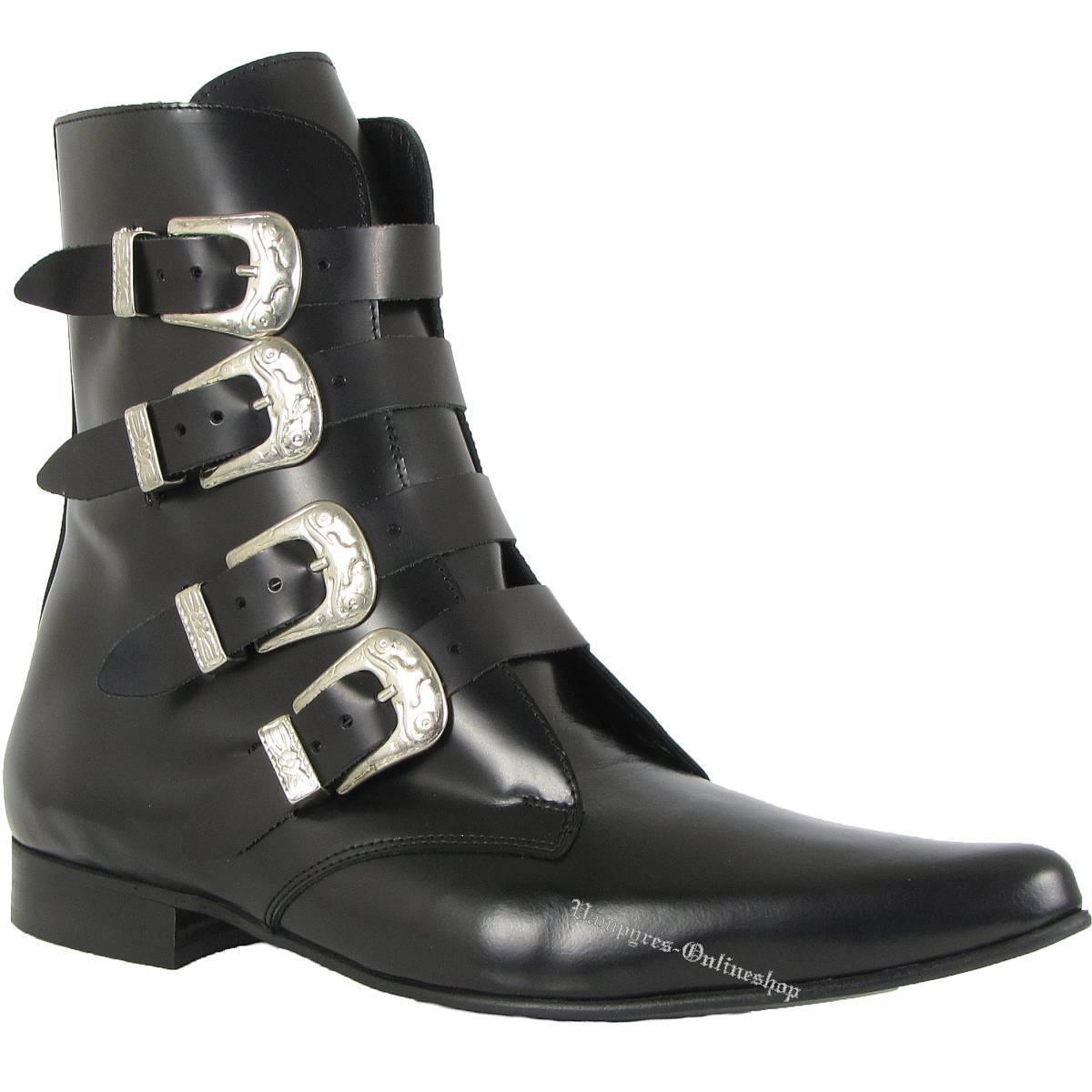 botas & Braces 4 hebillas winkelpiker negro botas and Pikes Pikes Pikes cuero negro negro  sin mínimo