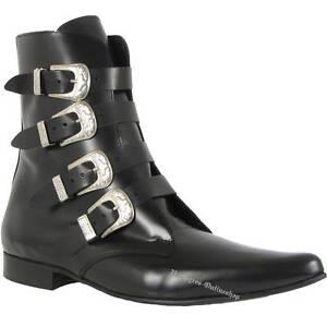 Boots-amp-Braces-4-Schnallen-Winkelpiker-Schwarz-Stiefel-And-Pikes-Leder-Neu