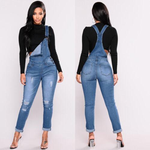 Women Skinny Denim Jeans Full Length Pinafore Dungaree Overall Jumpsuit C4G2