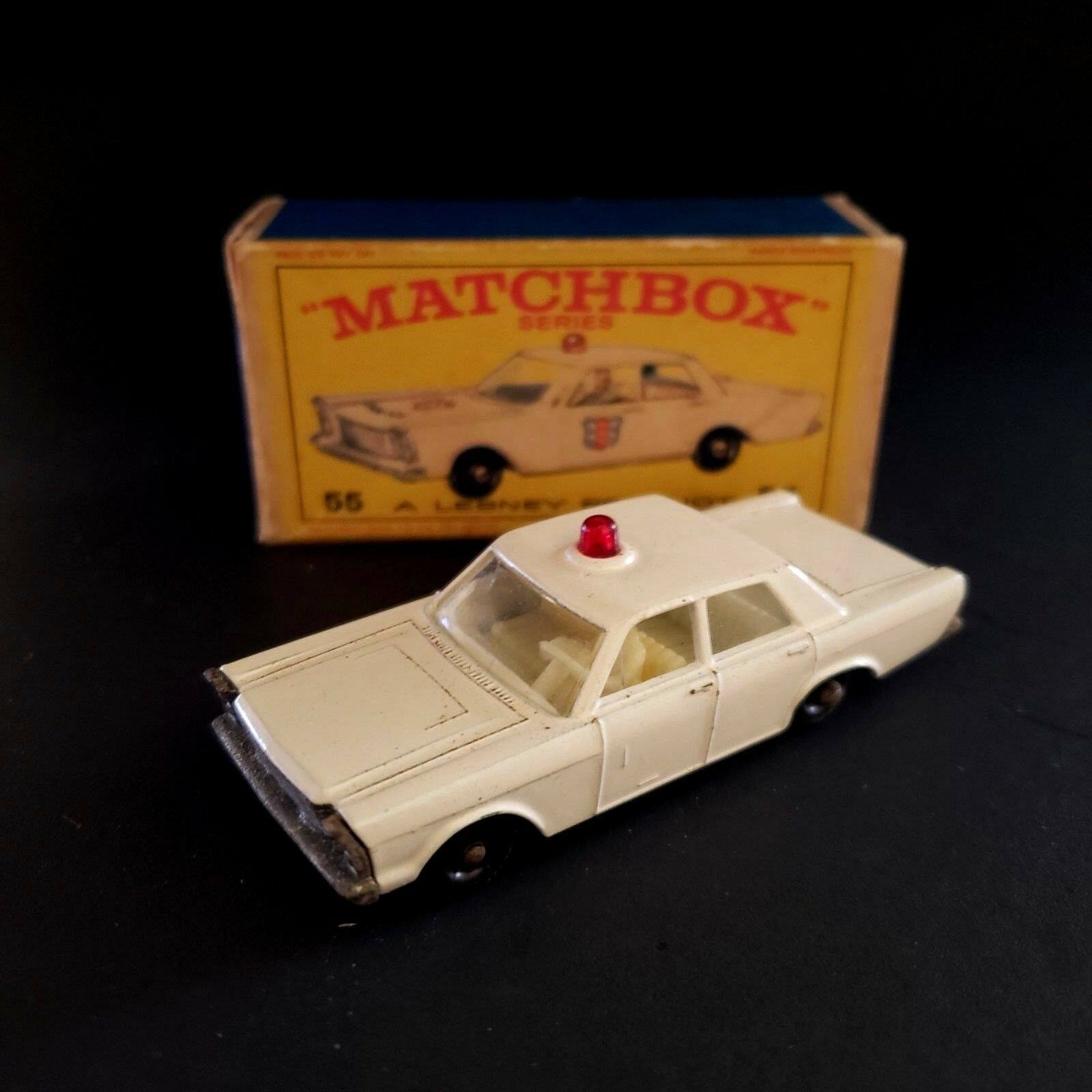 Matchbox Lesney Ford Galaxie Police Car Diecast Car With Original Box