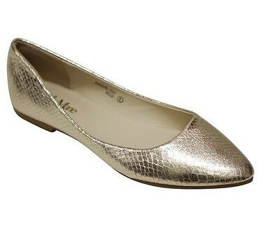 New a101 Women's Pointy Toe Slip On Ballet Flats Casual Shoes Gold Size 7.5