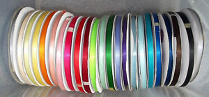 Satin-Ribbon-Double-Sided-6mm-1-4-034-wide-2-5-or-10m-lengths-Lots-of-Colours