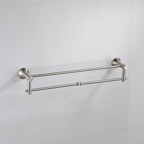 Bathroom Towel Rail Bar Holder  Rack Storage Shelf  Wall Mounted Brushed Nickel