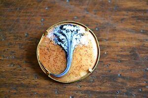 Magnifique-broche-email-decor-floral-GINKGO-BILOBA-cerclage-laiton