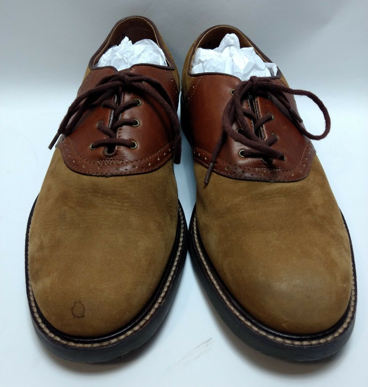G.H. BASS & M CO. Men's Size 10 M & Brown Sueded Leather Upper Oxfords 044c85