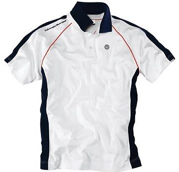 GENUINE VW MOTORSPORT COLLECTION MENS WHITE POLO T SHIRT