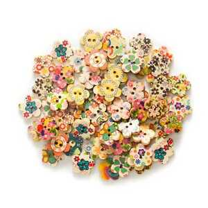 50pcs-Mixed-Flower-2-Hole-Wood-buttons-for-Sewing-Scrapbook-Clothing-Crafts-15mm